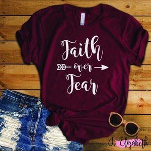 🆕 Maroon Faith Over Fear Next Level Graphic Tee